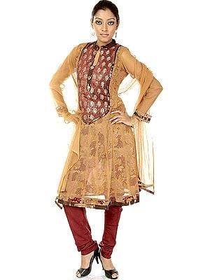 Sandstone Chudidar Flair Suit with Embroidered Sequins