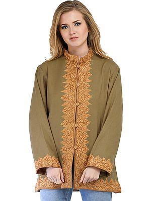 Slate-Green Kashmiri Jacket with Ari Hand-Embroidered Paisleys on Border
