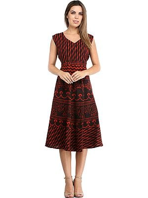 Summer Dress with Block-Printed Elephants and Dori on Back