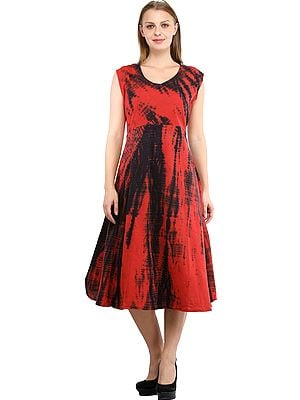 Bittersweet-Red and Plum-Perfect Batik Dyed Dress with Dori on Back