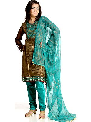 Sea-Green and Brown Chudidar Broacded Suit with Sequins