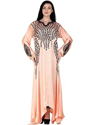 Long Fish-cut Gown from Kashmir with Ari Embroidered Black Bootis on Neck