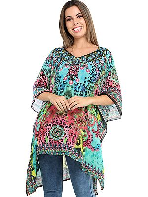 Multicolored Digital-Printed Short Kaftan with Stones and Crystals