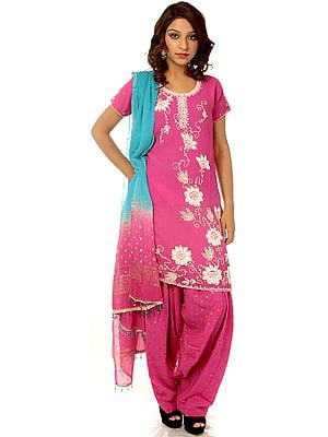 Magenta Patiala Salwar Kameez with Beads and Sequins