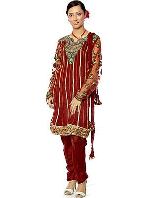 Maroon Chudidar Designer Suit with Meenakari Embroidery and Mirrors