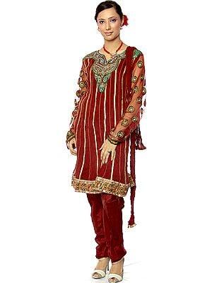 Maroon Chudidar Designer Suit with Meenakari Embroidery and Mirrors