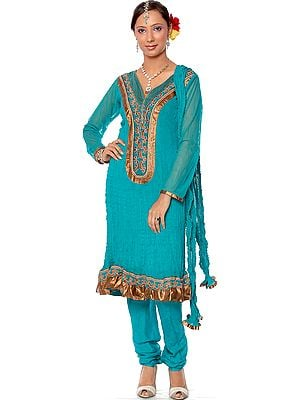Turquoise Chudidar Designer Suit with Patchwork