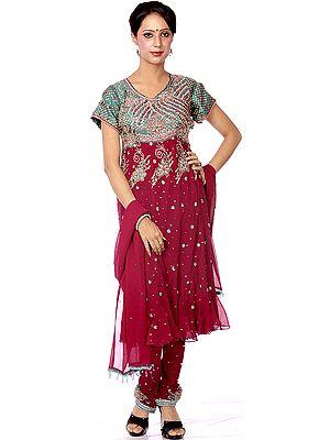 Purple Anarkali Suit with Heavy Beadwork on Kameez