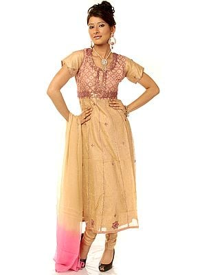 Khaki and Pink Salwar Suit with Beadwork and Sequins