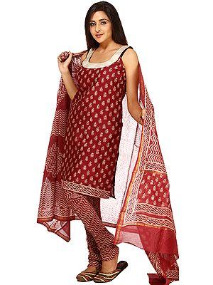 Cordovan Block-Printed Chanderi Chudidar Salwar Kameez Suit