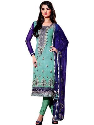 Ceramic-Green and Blue Designer Suit with Metallic Thread Embroidery and Sequins