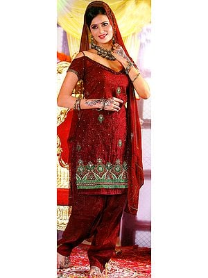 Garnet-Red Bridal Salwar Kameez with Crewel Embroidered Flowers and Sequins