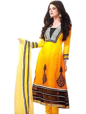 Citrus-Yellow Chudidar Kameez Suit with All-Over Sequins and Gota Border