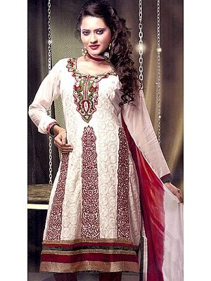 Chic-White Chudidar Kameez Suit with All-Over Chikan Embroidered Flowers and Gota Border