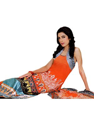 Coral Long Salwar Suit from Pakistan with Embroidered Shirt and Gold Printed Border