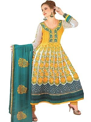 Citrus-Yellow Shaded Anarkali Salwar suit with Metallic Thread Embroidered Flowers and Gota Patch