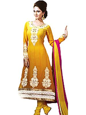 Anarkali Kameez Suit with Giant Embroidered Paisleys and Crochet Border