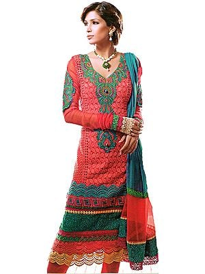 Hot Coral Chudidar Kameez Suit with Self-Colored Embroidery and Crochet Border