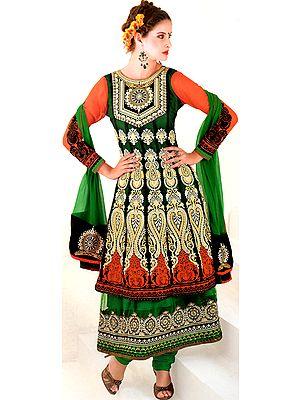 Shady Glade-Green and Orange Designer Chudidar Kameez Suit with Metallic Thread Embroidery