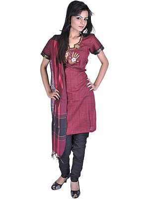 Garnet-Red Chudidar Kameez Suit from Gujarat with Applique Flowers and Threadwork