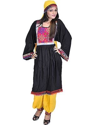 Black and Yellow Flaired Costume from Afghanistan with Threadwork