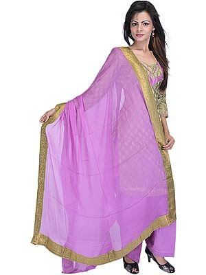 Mistletoe-Green and Amethyst Banarasi Salwar Suit with All-Over Woven Flowers in Golden Thread