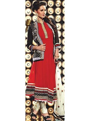 Tomato-Red Designer Flaired Chudidar Kameez Suit with Embroidery on Neck and Bolero Jacket
