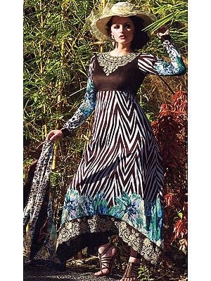 Long Printed Salwar Kameez with Crewel Embroidered Flowers on Neck and Faux Pearls