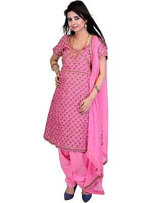Azalea-Pink Banarasi Salwar Suit with All-Over Woven Flowers and Meenakari Border