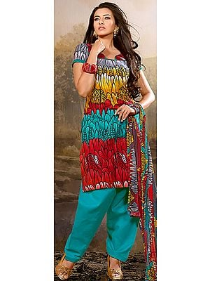 Tri-Color Printed Salwar Kameez Suit