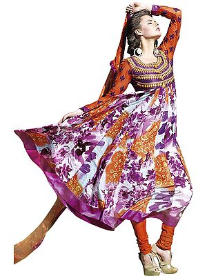 Anarkali Kameez Suit with Printed Flowers and Satin Patch Border