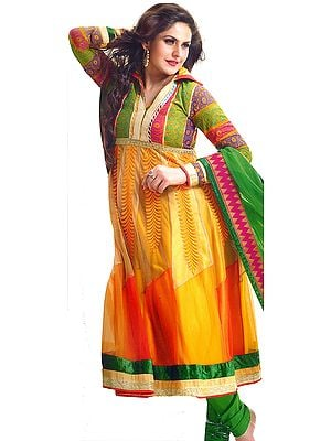 Citrus-Yellow Anarkali Chudidar Kameez suit with Woven Flowers on Neck and Patch Border