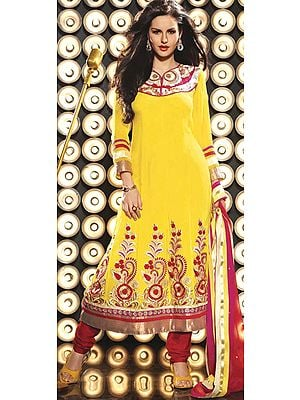 Aspen-Gold Flared Chudidar Kameez Suit with Metallic Thread Embroidery on Neck and Patch Work