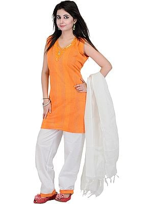 Vibrant-Orange Parallel Suit with Embroidered Neck and Woven Stripes