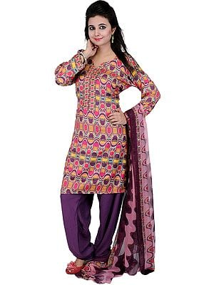 Multi-Color Chudidar Kameez Suit with Digital Ikat Print