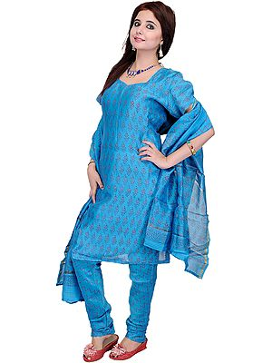 Azure-Blue Chanderi Chudidar Salwar Suit with Block-Printed Flowers