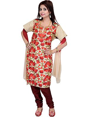 Beige and Red Choodidaar Kameez Suit from Kashmir with Ari Embroidered Flowers