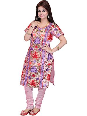 Pink-Mist Two-Piece Choodidaar Kameez Suit from Kashmir with Ari Embroidery