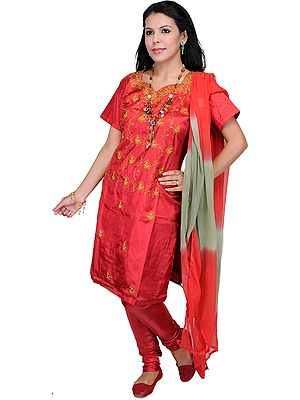 Jester-Red Choodidaar Kameez Suit from Kashmir with Needle Embroidery