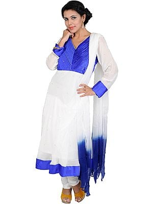 Chic-White and Blue Chudidar Kameez Suit with Beadwork