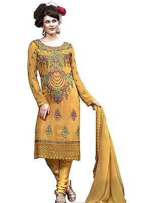 Golden Apricot Choodidaar Kameez Suit with Metallic Thread Embroidered Beads and Crochet Border