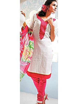 Chic-White and Pink Choodidaar Kameez Suit with EmbroideredPatch