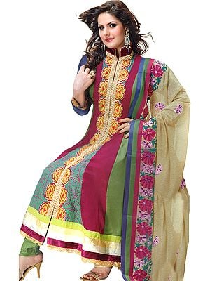 Fuchsia and Green Anarkali Chudidar Kameez Suit with Embroidered Flowers