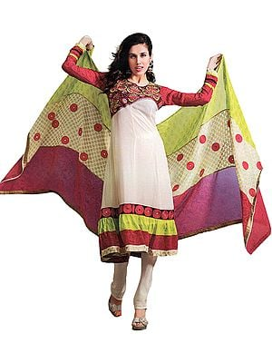 Ivory Choodidaar Kameez Suit with Embroidery on Neck and Patch Border