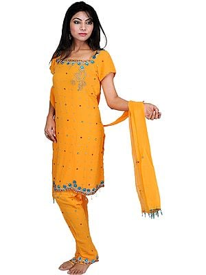 Blazing-Orange Choodidaar Kameez Suit with Embroidered Beads All-Over