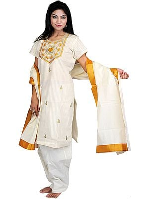 Ivory Kasavu Kathakali Salwar Kameez Suit with Metallic Thread Embroidery