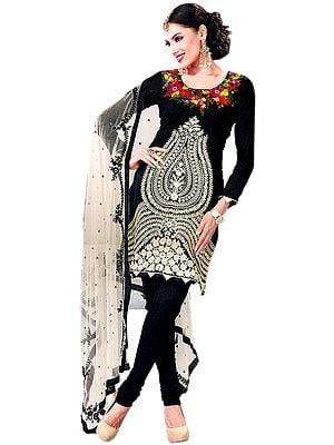 Black Chudidar Kameez Suit with Embroidered Flowers in Ivory Thread
