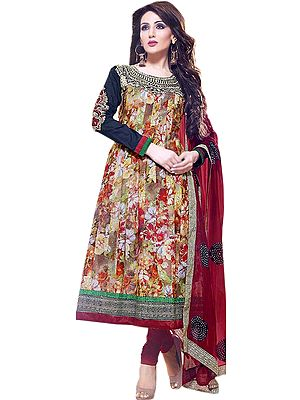 Floral Printed Flared Kameez andChudidar Suit with Metallic Thread Embroidery on Neck