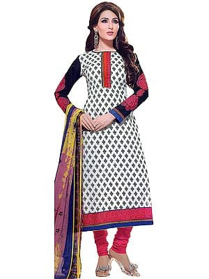 Chic-White Chudidar Suit with Printed Bootis and Patch Border