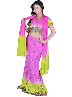 Pink and Green Bridal Lehenga Choli with Beadwork and Sequins